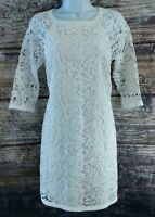 Ann Taylor Sheath Dress Womens Size 2 White Lace Cotton 3/4 Sleeve NWT $179