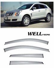 WellVisors For 10-16 Cadillac SRX CHROME Trim Side Window Visors Wind Deflector