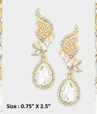 Crystal Rhinestone Wedding Statement Evening Earrings Teardrop Flame Swirl Drop