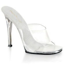 Fabulicious Gala01 Womens High Heel Stiletto Slide Sandals Slip on Shoes Clear 7