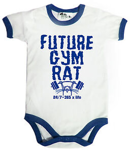 "Baby Gym Clothes ""Future Gym Rat"" Funny Babygrow Weights Muscles Clothes"