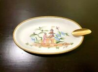 Vintage RARE Limoges Hand Painted Ashtray & Signed, France