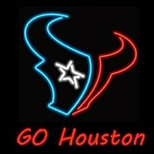 "Houston Texans Go Houston Neon Lamp Sign 20""x16"" Bar Light Beer Glass Windows"