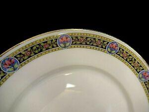 6 assiettes plates en porcelaine de Limoges ou Paris Art Déco