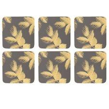 New Portmeirion Sara Miller Etched Leaves Grey Gold Botanical Coaster Set of 6