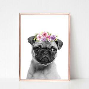 pug dog print PICTURE WALL ART FLOWER GARLAND A4 unframed PORTRAIT
