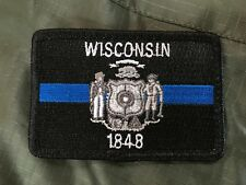 Subdued Thin Blue Line Wisconsin State Flag Patch, Law Enforcement