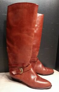 Enzo Angiolini Size 8M Brown Leather Tall Riding Boots Double Belted Harness
