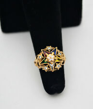 #8283 - 14k Gold Multi Color Sapphire - Order of the Eastern Star Ring - Sz 3.25