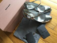 MIU MIU Argento Silver Patent Leather MARY JANE PUMP SIZE 38, box and dust bag