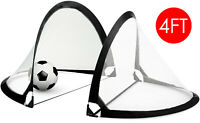 Set of 2 4' Pop-Up Goals Foldable Gate - Pair of Soccer Goals Net with Carry Bag
