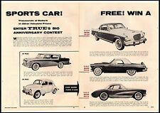 1956 Win A Sports Car Corvette Thunderbird Studebaker 2 Page Vintage Print Ad