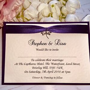 Wedding Invitations - Purple Ribbon & Silver Dragonfly Charm - Daytime - Flat A6