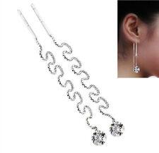 Zirconia Ear Studs Threader Chain New Xxl Long Ladies 925 Silver Earrings