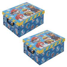 Set of 2 Paw Patrol Cardboard Storage Boxes With Lids Kids Toys Arts Crafts Box
