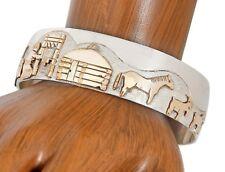 VTG Navajo Artist Jacob Kahe Storyteller .925 Silver & GF Cuff Bracelet