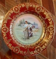 Porcelain Decorative Plate, Women Gleaning The Fields, Red/Gold Tones, 6 1/2 ins