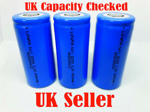 Lithium 3.3v 32700 6000mAh LiFePO4 Rechargeable battery cell UK tested.