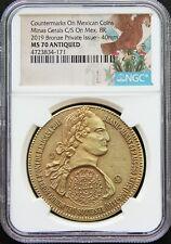 Mexico 2019 8 Reales Bronze Medal, Minas Gerais Counterstamp NGC MS70