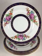 "4 - 9"" Plates Crown Staffordshire Floral, Cobalt & Gold - Bailey Banks & Biddle"