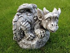 Steinfigur Drache  Garten Deko Skulptur Steinguss Gartenfiguren Koi Teich
