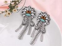 Earrings Silver Big Long Chandelier Pompom Tassel Ethnic Blue XX19