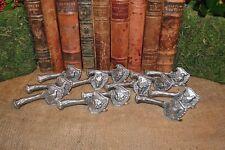 Rare Vintage French Deer Antler Hunt Theme Knife Rests Set of 12 Silver
