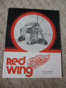 OCT 29 1972 DETROIT RED WINGS vs MONTREAL CANADIENS HOCKEY PROGRAM DRYDEN COVER