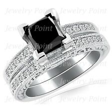 2.09ct Princess Black Diamond Matching Engagement Wedding Ring Set 14 White Gold