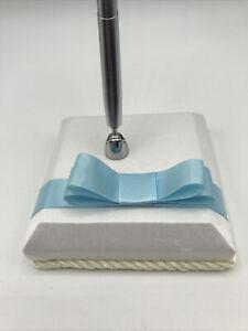 Beverly Clark Classique Penholder White Satin with Blue Ribbon Silver Pen