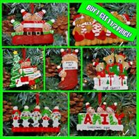 Personalised 3, 4, 5 Family Christmas / XMAS Tree Decoration Ornament Bauble