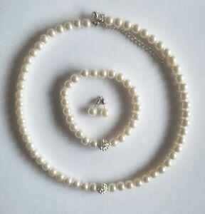 Perlen Collier Schmuckset Brautschmuck  Hochzeit Perlenkette  Armband ivory 3tlg