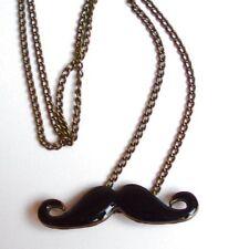 Moustache Mustache Blogger Necklace Bart Schnurrbar T Schwarzgold-Farbig