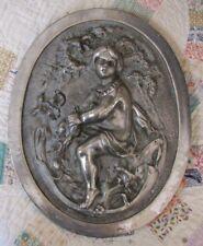 Vintage Silver Metal Cherub Garden or Wall Plaque *WoW*