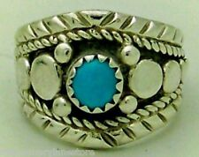 Sterling Silver Ring Sz 3.75 Adorable Handcrafted Estate Signed Turquoise
