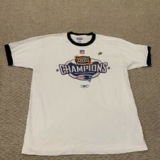 New England Patriots Super Bowl XXXVIII Champions Ringer T Shirt Reebok Large
