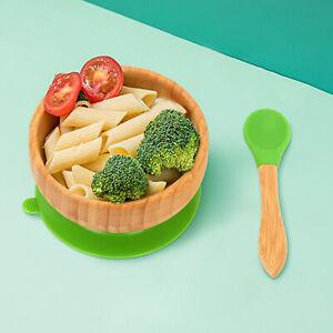 Baby Toddler Feeding Bowl & Spoon Suction Plate Dinner Training Tableware Set