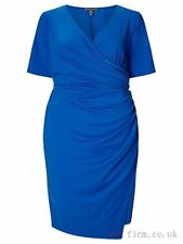 Adrianna Papell, Short Sleeve Faux Wrap Dress, Blue, Size 12