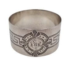 Sterling Silver Napkin Ring Birmingham 1892 Bright Cut Greek Key Design 20 grams