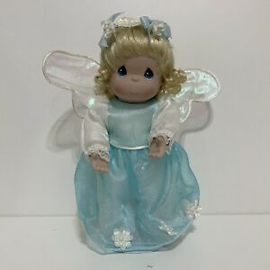 Precious Moments Angel Doll Blue White Flowers PorcelainWith Display Stand