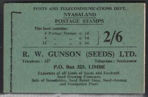 Nyasaland 1954 2/6 Booklet SG# SB1