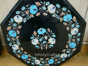 18 Inches Turquoise Stones Inlaid Marble Coffee Table Top Black Side Table Top
