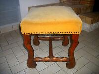 Tabouret bois ancien noyer os de mouton velours antiquité meuble XVIIe