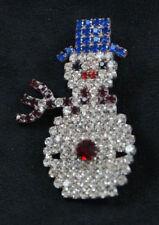Czech Rhinestone Snowman Brooch Bohemian Gablonz Prong-Set Pin Costume Jewelry