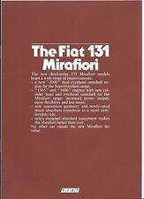 Fiat 131 Mirafiori 2000 TC CL Diesel 1982 English Language Ireland Brochure
