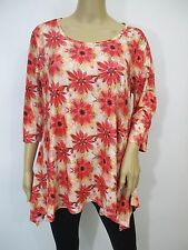 Red & Offwhite 3/4 Sleeve Floral Print Shark Bite Hem Tunic Top  Sz L