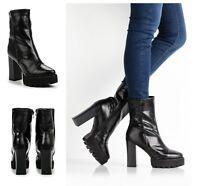 Mujer Tobillo Plataforma Tacón Alto Negro Piel Sintética Botas Zapatos Talla 3-