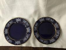 Pair Of Vintage Zsolnay Porcelain Cobalt Butter Pats