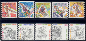 Switzerland - 1998-99 two sets used booklet stamps 1030-4 & 1043-7 Lot # 102