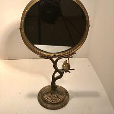 Vintage Gold Filigree Bird On Branch Pedestal Mirror